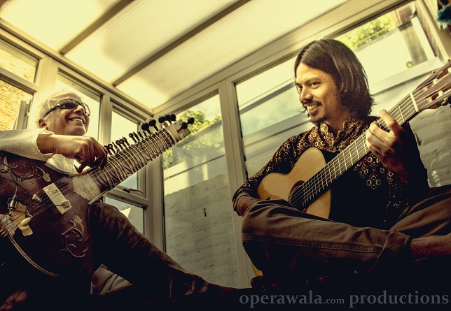 Baluji rehearsing his Sitar Guitar Suites with Boo-boo Sianturi