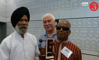 Baluji with Baldev Singh and Sean Raffety at the BBC