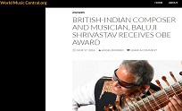 17th June 2016, World Music Central - British-Indian Composer and Musician, Baluji Shrivastav Receiv
