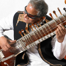 picture of Baluji playing surbahar